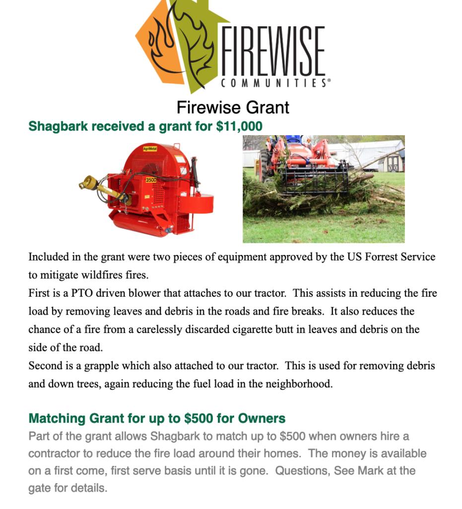 Shagbark Firewise Grant