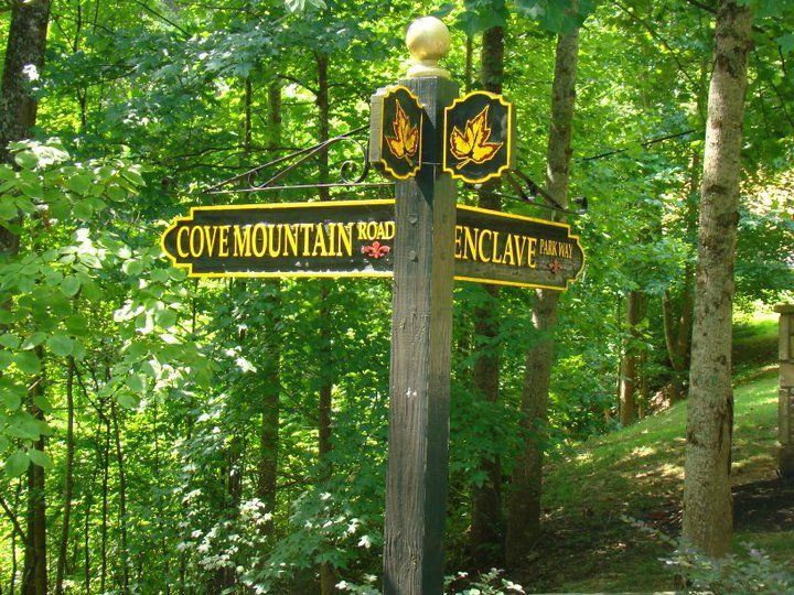 Road signs for The Enclave at Cove Mountain. Luxury properties in Gatlinburg, Tennessee