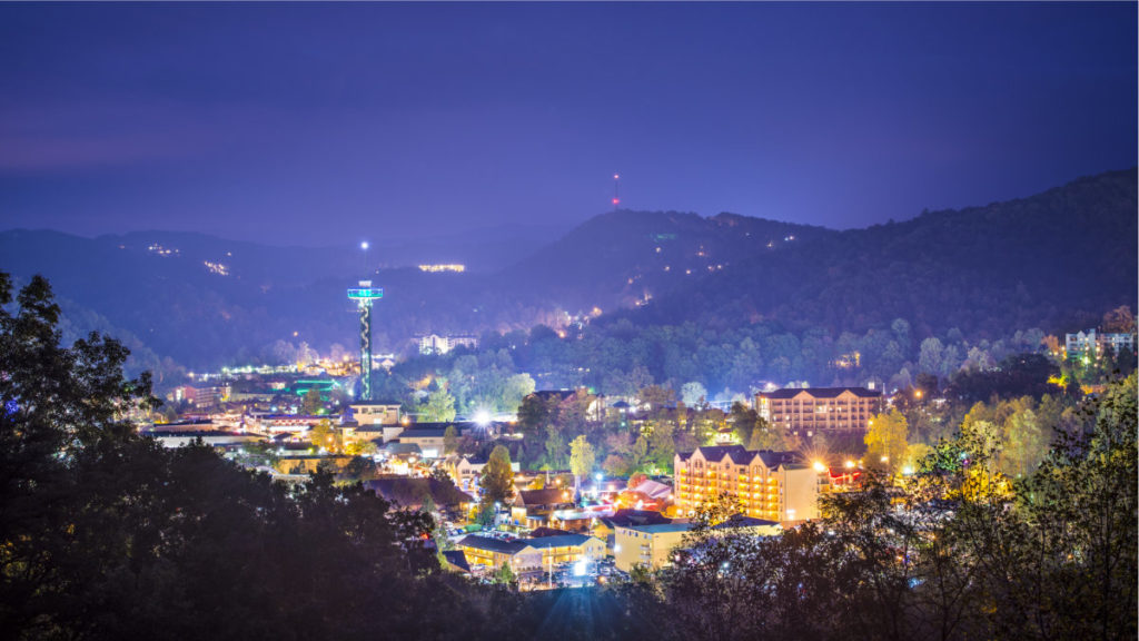 Gatlinburg, Tennessee at night