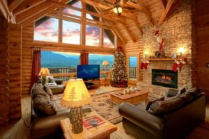 Heavenly Heights is a five bedroom cabin in Gatlinburg with an amazing and private mountain view, theater room area, fire pit, and luxury features and finishes throughout.