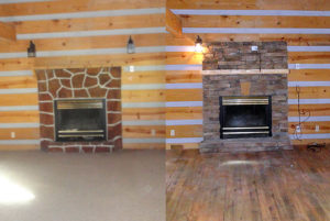 Gatlinburg foreclosure cabin renovation at Lots of Lovin. One bedroom cabin rental