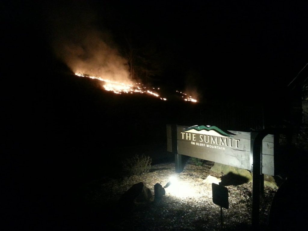 The Summit on Bluff Mountain fire at the entrance off Bluff Mountain Road on April 17, 2013